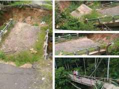 Jembatan yang putus di Desa Sumber Baru Seputih Banyak Lamteng belum diperbaiki. Foto Istimewa