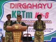 Ibnu Hasan, MPd, berikan sambutan pada HUT ke-8 KBTM Lampura, Kamis (21/11) Foto Istimewa