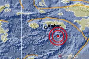 Peta kejadian gempa bumi magnitudo 6,2 di Laut Banda, Maluku Tengah, Selasa (8/9/2020) (ANTARA/HO.BMKG)